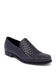 Bottega Veneta Interwoven Leather Loafers Dark Grey