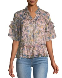 Kendall Kylie Short Sleeve Floral Ruffle Blouse Pink Pattern