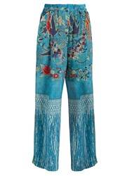 By Walid Wide Leg Silk Crepe De Chine Trousers Blue Print