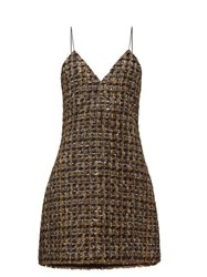 Balmain Metallic Tweed Mini Dress Gold Multi