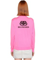 Balenciaga Back Logo Wool Knit Crewneck Sweater Fuchsia