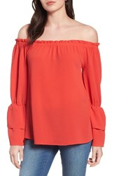 Bobeau Women's Tiered Bell Sleeve Off The Shoulder Top Tomato
