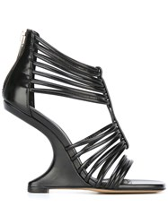Rick Owens Strappy Wedge Sandals Black