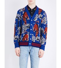 Gucci Tiger Print Knitted Cardigan Inchiostro Multi Col