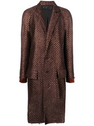 Haider Ackermann Jacquard Single Breasted Coat Brown