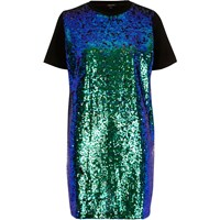 River Island Womens Blue Sequin Oversized T Shirt Dress