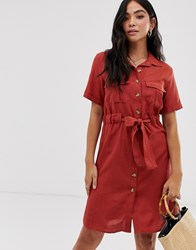 Qed London Button Through Shirt Dress With Tie Belt Red