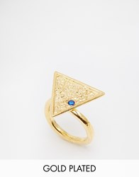 Ottoman Hands Triangle Ring Blue