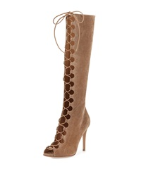 Gianvito Rossi Suede Lace Up Peep Toe Knee Boot Bisque