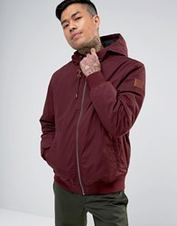 Element Dulcey Hooded Bomber Jacket In Burgundy Red