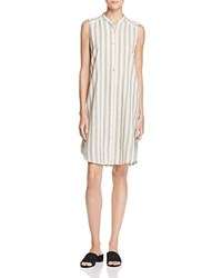 Eileen Fisher Mandarin Collar Stripe Shirt Dress Black Natural