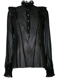 John Richmond Sheer Ruffle Neck Blouse Women Silk S Black