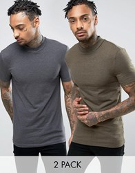 Asos 2 Pack Extreme Muscle T Shirt In Charcoal Marl Green Marl With Turtle Neck Save Multi