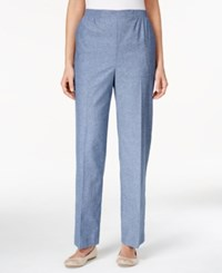 Alfred Dunner Petite Straight Leg Pull On Denim Pants Chambray