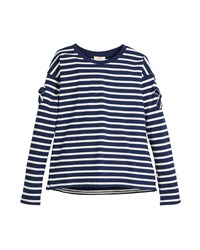 Kate Spade Striped Long Sleeve Tee W Bow Trim Multi
