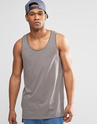 Asos Relaxed Longline Vest With Step Hem In Grey Grey