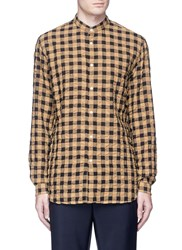 Camoshita Check Plaid Mandarin Collar Seersucker Shirt Multi Colour