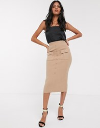 Fashion Union Button Front Knitted Midi Skirt Cream