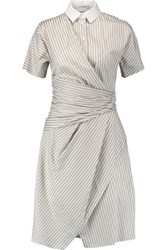 Carven Wrap Effect Striped Cotton Dress Gray