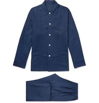 Anderson And Sheppard Linen Pyjama Set Navy