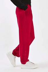Boutique Velvet Straight Leg Trousers By Pink