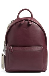 Ted Baker Men's London 'Dollar' Leather Backpack Red Oxblood