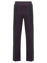 Wales Bonner Crochet Striped Cotton Track Pants Navy