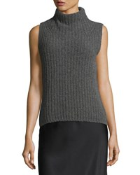 Vince Sleeveless Turtleneck Pullover Sweater Charcoal