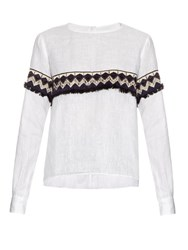 Jupe By Jackie Pinza Embroidered Long Sleeved Linen Blouse White