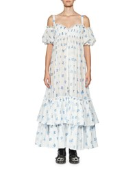 Alexander Mcqueen Floral Cold Shoulder Tiered Maxi Dress White Blue White Blue