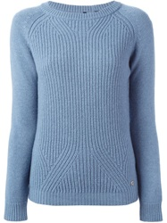 Woolrich Ribbed Crew Neck Sweater Blue