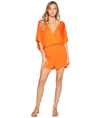 Trina Turk Gypsy Jersey Kimono Sleeve Romper Cover Up Flame Women's Swimsuits One Piece Orange
