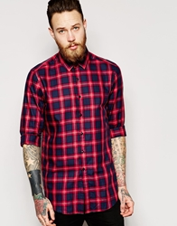 Asos Shirt In Mid Length With Tartan Check Red