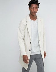 Asos Wool Mix Overcoat In Cocoon Fit In Ecru Ecru Beige