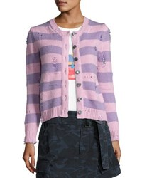 Marc Jacobs Striped Wool Cashmere Cardigan With Distressing Pink Purple
