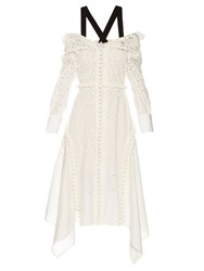 Proenza Schouler Off The Shoulder Broderie Anglaise Dress White