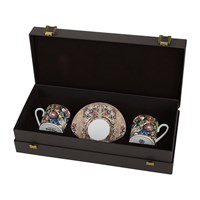 Roberto Cavalli Golden Flowers Coffee Cup And Saucer Set Of 2 Luxury Gift Box