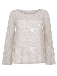 Hotsquash Bell Sleeve Leaf Top In Coolfresh Fabric Cream