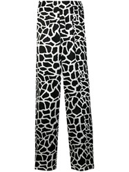 Federica Tosi Patterned Flared Trousers Black