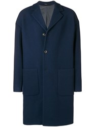 Mauro Grifoni Oversized Single Breasted Coat Blue
