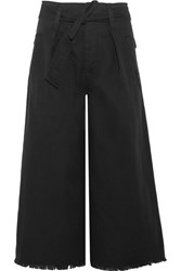 Etoile Isabel Marant Odea Cropped Cotton Twill Wide Leg Pants Black
