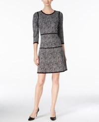 Nine West Printed A Line Sweater Dress Gray Black