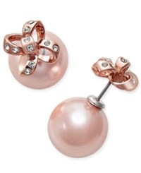 Kate Spade New York Rose Gold Tone Imitation Pearl And Pave Bow Reversible Front And Back Earrings
