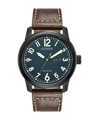 Citizen Eco Drive Leather Strap Analog Chronograph Watch Brown