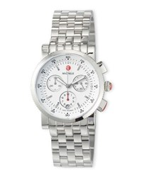 Michele Sport Sail Stainless Steel Chronograph Watch With White Dial No Color