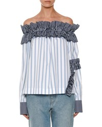 Msgm Off The Shoulder Striped Shirting Top Blue Blue White