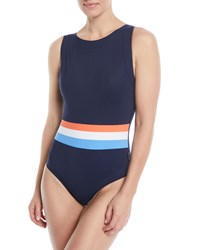 Shan Tricolore Open Back One Piece Swimsuit Blue