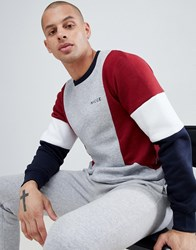 Nicce London Sweatshirt In Grey With Contrasting Panels