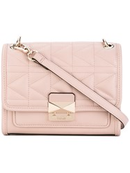 Karl Lagerfeld Foldover Quilted Shoulder Bag Women Leather One Size Pink Purple