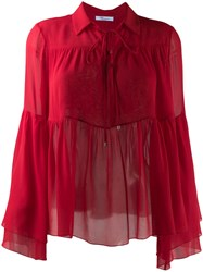 Blumarine Ruffle Trimmed Blouse Red